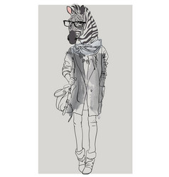 Hipster portrait of zebra with glasses vector