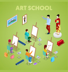 Isometric art concept class with students painter vector