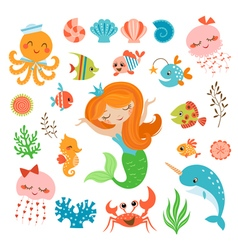 Mermaid and sea friends vector