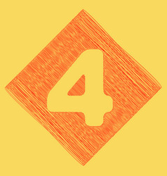 Number 4 sign design template element red vector