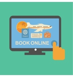 Online travel tickets booking service with plane vector