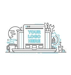 Programming tools - line design illistration with vector