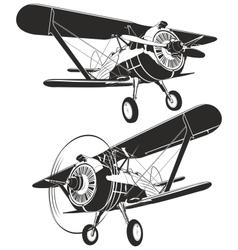 retro biplane vector image