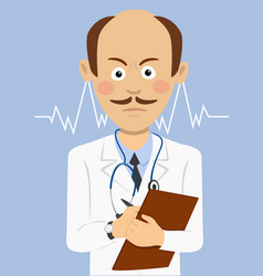 serious doctor with mustache holding a clipboard vector image