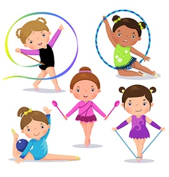 Set of rhythmic gymnastics cute girls vector image vector image