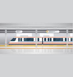 Subway underground platform with modern train vector