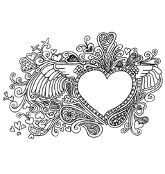 Valentines heart doodles vector image vector image