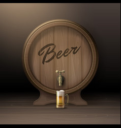 Wooden beer barrel vector