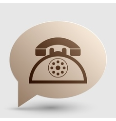 Retro telephone sign brown gradient icon on vector