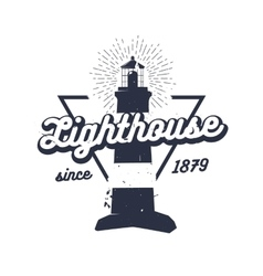 Retro nautical label with lighthouse sunburst and vector