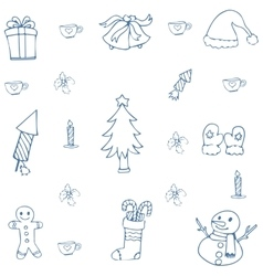 Hand draw christmas doodle set vector