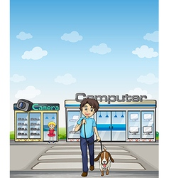 A man crossing the street with his dog vector image