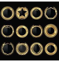 Golden medal black label set vector