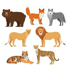 Predatory animals set wolf bear fox tiger lion vector