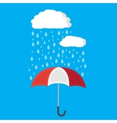 Umbrella and rain with clouds vector image