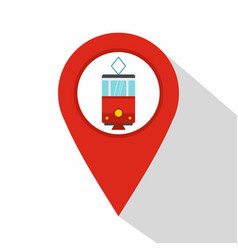 Red map pointer with tram symbol icon flat style vector