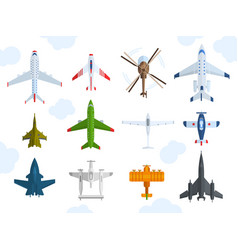 Aircraft different plains top view vector