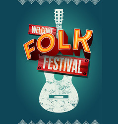 Folk festival poster with acoustic guitar shape vector