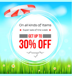 Summer selling ad banner thirty percent holiday vector