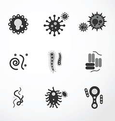 virus icons black colour vector image