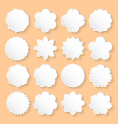 Set of white paper floral frames on a beige vector