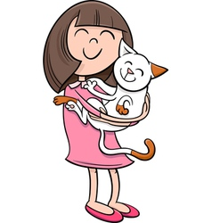 Girl with kitten cartoon vector