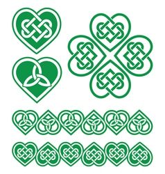 Irish scottish celtic green heart pattern vector