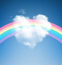 Heart shape cloud with rainbow vector
