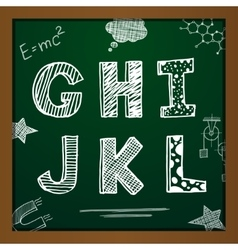 Chalk drawing alphabet vector