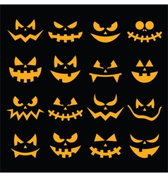Scary halloween orange pumpkin faces icons set vector