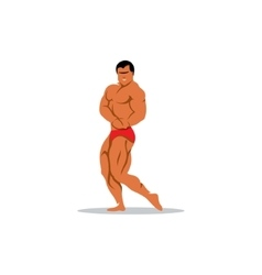 Attractive male bodybuilder demonstrating contest vector