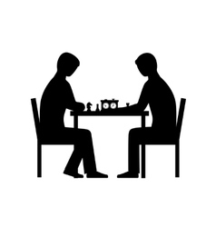 People playing chess silhouettes vector