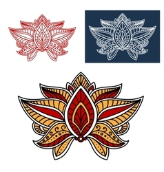 Oriental paisley flower with indian ethnic motif vector