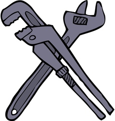 Two adjustable wrenches vector