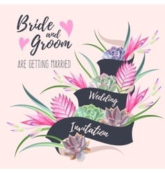 Wedding invitation with exotic flowers vector