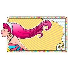 girlish label vector image