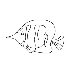Angel fish icon in outline style isolated on white vector