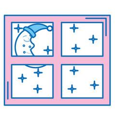 Bedroom windows night isolated icon vector
