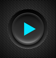 Black button with blue play sign on carbon vector