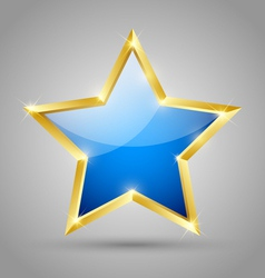 Blue glossy star vector image vector image