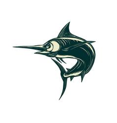 Blue marlin jump scratchboard vector