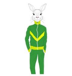 Brutal rabbit boy in sport suit 90s hand drawn vector
