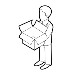 Businessman holding an outline box icon vector image vector image