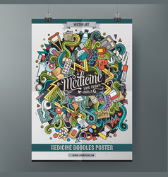Cartoon hand drawn doodles medical poster template vector