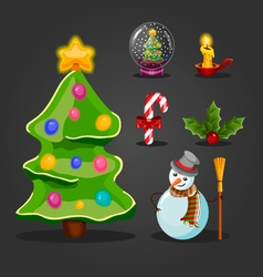 Christmas set for game interface design vector image vector image