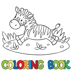 Coloring book of little zebra vector image vector image