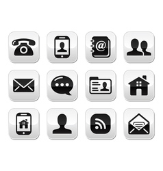 Contact black buttons set - mobile phone email vector image