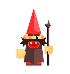 Dwarf in a red hat grimly grins fairy tale vector