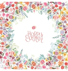 Easter frame with contour flowers and eggs vector image