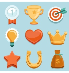 Flat gamification icons achievement badges vector